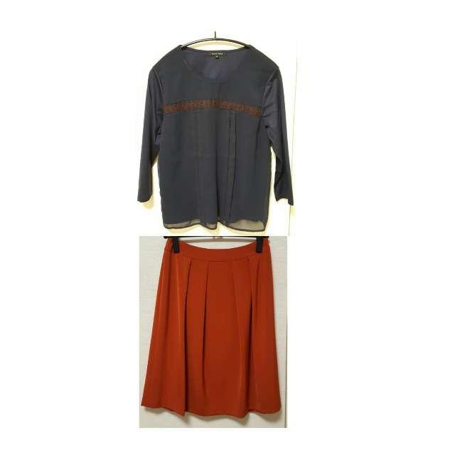 TRANS WORKのTシャツ/カットソー、TRANS WORKのひざ丈スカート等を使ったコーデ画像