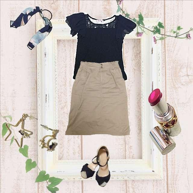「シンプル、オフィス」に関するone way 2ndのTシャツ/カットソー、earth music&ecologyのタイトスカート等を使ったコーデ画像