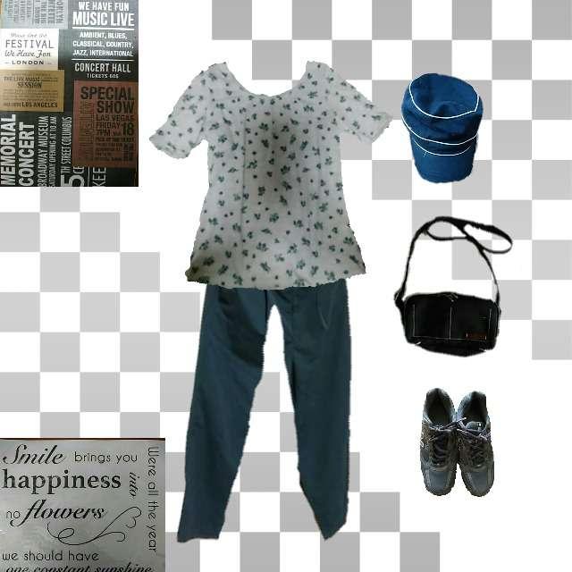 「カジュアル、休日」に関する3can4onのTシャツ/カットソー、NAVYのパンツ等を使ったコーデ画像