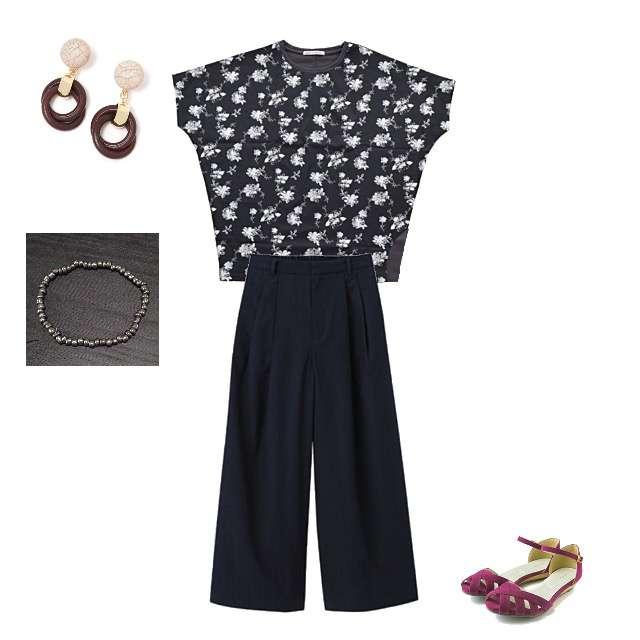 「着用済、★」に関するHeart MarketのTシャツ/カットソー、GUのワイドパンツ等を使ったコーデ画像