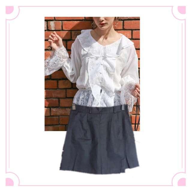 PAGEBOYのシャツ/ブラウス、ゴゴシングのミニスカート等を使ったコーデ画像