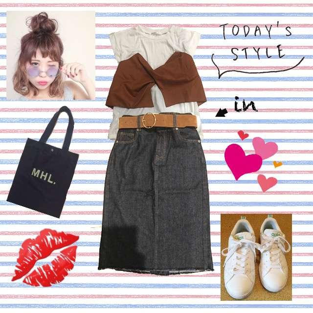 「カジュアル、休日、RETRO GIRL」に関するRETRO GIRLのTシャツ/カットソー、RETRO GIRLのデニムスカート等を使ったコーデ画像