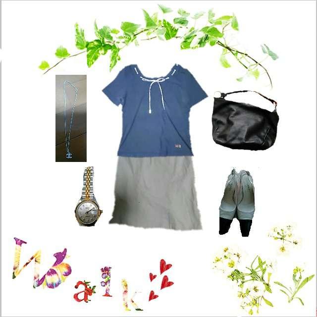 「モード・ハイエンド、おでかけ」に関するDAKSのTシャツ/カットソー、any SiSのひざ丈スカート等を使ったコーデ画像