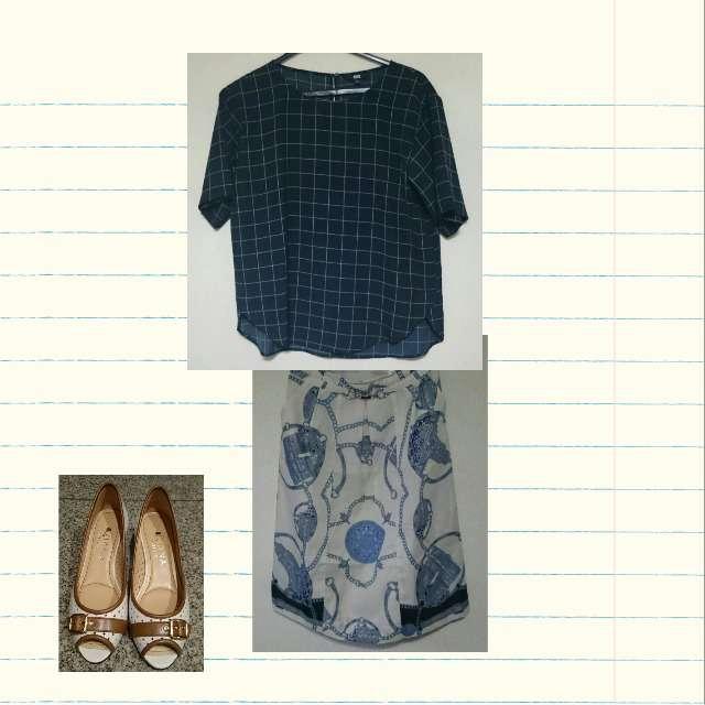 「夏」に関するUNIQLOのシャツ/ブラウス、TACHIBANAのひざ丈スカート等を使ったコーデ画像