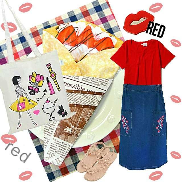 「カジュアル、休日、リアルクローゼット」に関するSTUDIOSのTシャツ/カットソー、merlotのデニムスカート等を使ったコーデ画像