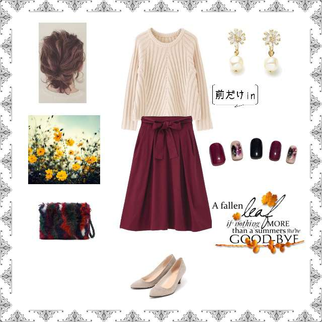 「ガーリー・フェミニン、ランチ、カフェ、女子会、ボルドー×フレアスカート、お題コーデ」に関するGUのフレアスカート、ViSのパンプス等を使ったコーデ画像