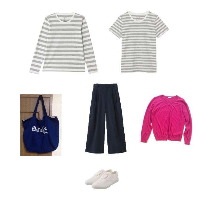 「シンプル、無印良品、赤カーディガン、肩掛けカーディガン、グレーボーダー、ボーダーT、ジーユー、白スニーカー、ネイビーワイドパンツ、リネンブレンドワイドパンツ」に関するGUのカーディガン、MUJI(無印良品)のTシャツ/カットソー等を使ったコーデ画像