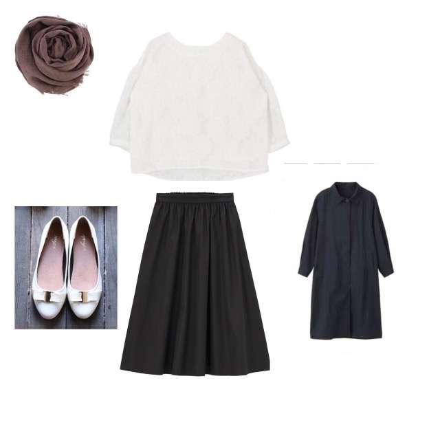 titivateのシャツ/ブラウス、GUのミモレ丈スカート等を使ったコーデ画像
