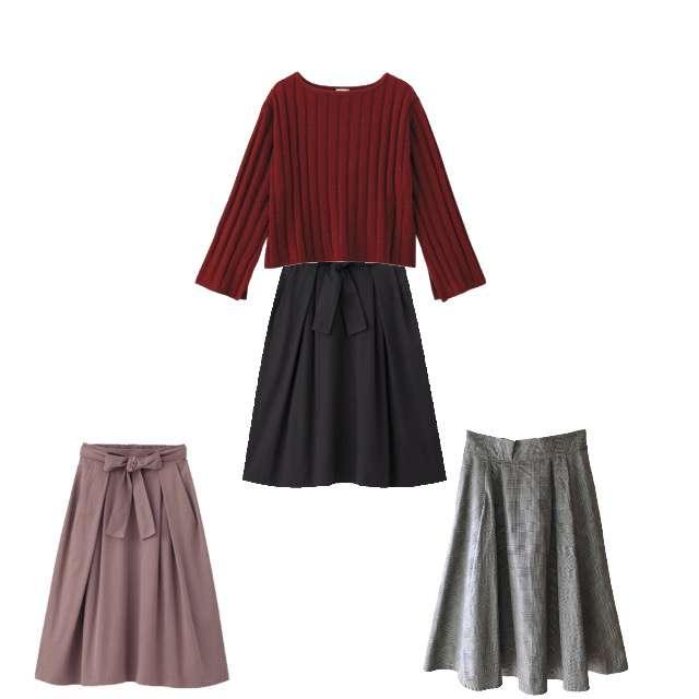 GUのニット/セーター、GUのスカート等を使ったコーデ画像
