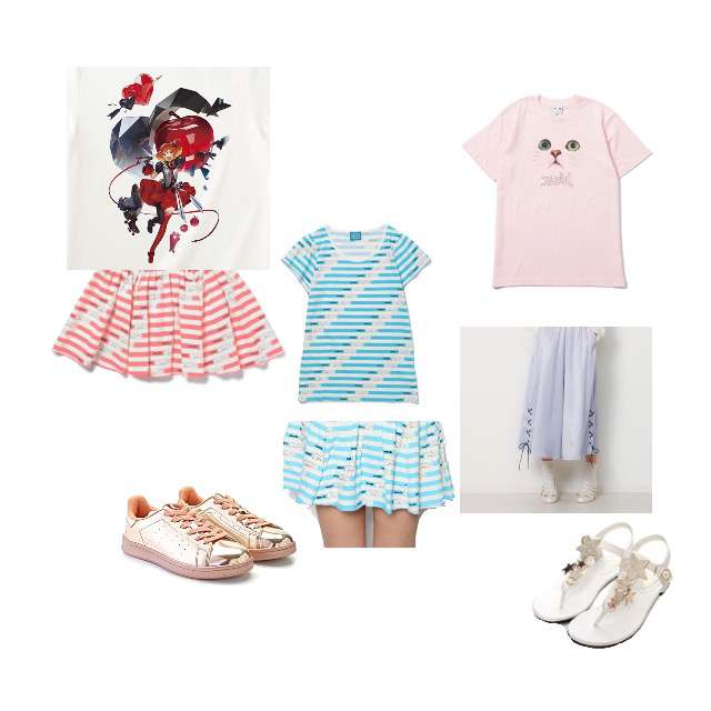 mmtsのTシャツ/カットソー、X-girlのTシャツ/カットソー等を使ったコーデ画像