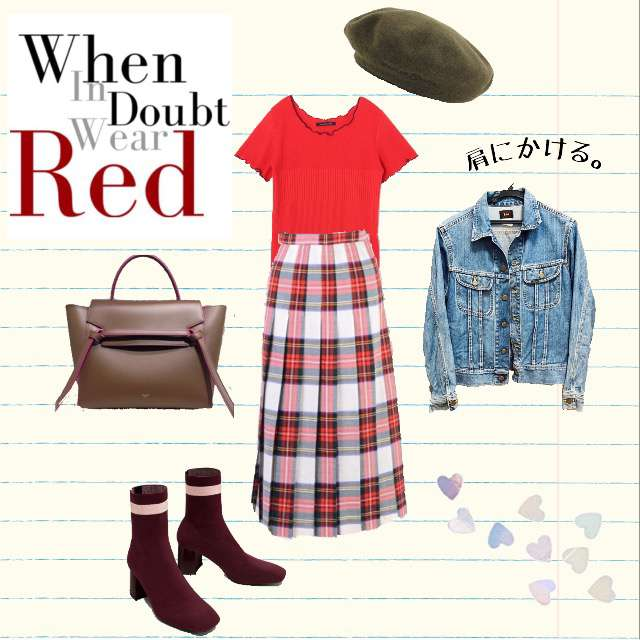 「古着MIX・ヴィンテージ、赤、Tシャツ、vintage」に関するPAGEBOYのTシャツ/カットソー、VINTAGEのプリーツスカート等を使ったコーデ画像