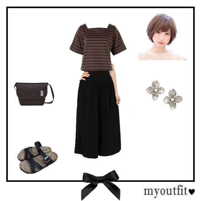 Roomy'sのTシャツ/カットソー、AZUL by moussyのガウチョパンツ等を使ったコーデ画像