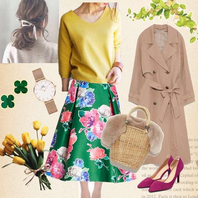 「ガーリー・フェミニン、女子会、華やか、春色、イエロー×ニット、花柄スカート」に関するlaboratory workのニット/セーター、kate spadeのミモレ丈スカート等を使ったコーデ画像