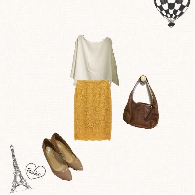 STYLE DELIのTシャツ/カットソー、GUのひざ丈スカート等を使ったコーデ画像