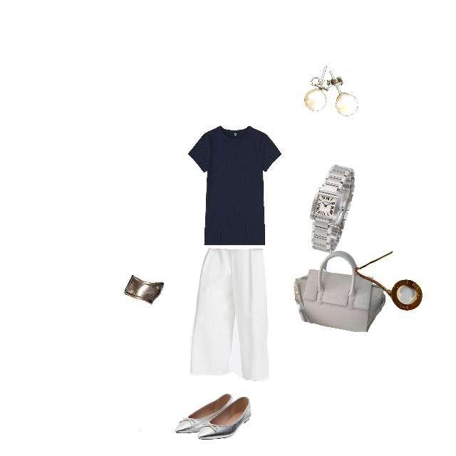 「参観会、ネイビー×ホワイト、綺麗め」に関するUNIQLOのTシャツ/カットソー、UNIQLOのガウチョパンツ等を使ったコーデ画像