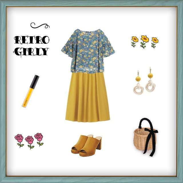 「ガーリー・フェミニン、おでかけ」に関するPAGEBOYのシャツ/ブラウス、GUのミモレ丈スカート等を使ったコーデ画像