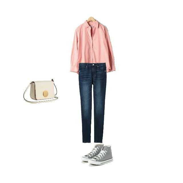 coenのシャツ/ブラウス、GUのデニムパンツ等を使ったコーデ画像