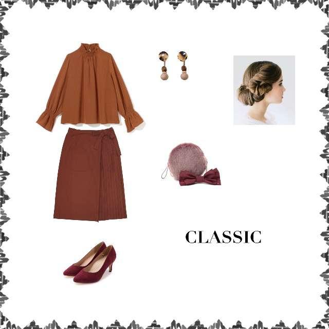 「クラシック、おでかけ」に関するシャツ/ブラウス、Factor=のプリーツスカート等を使ったコーデ画像