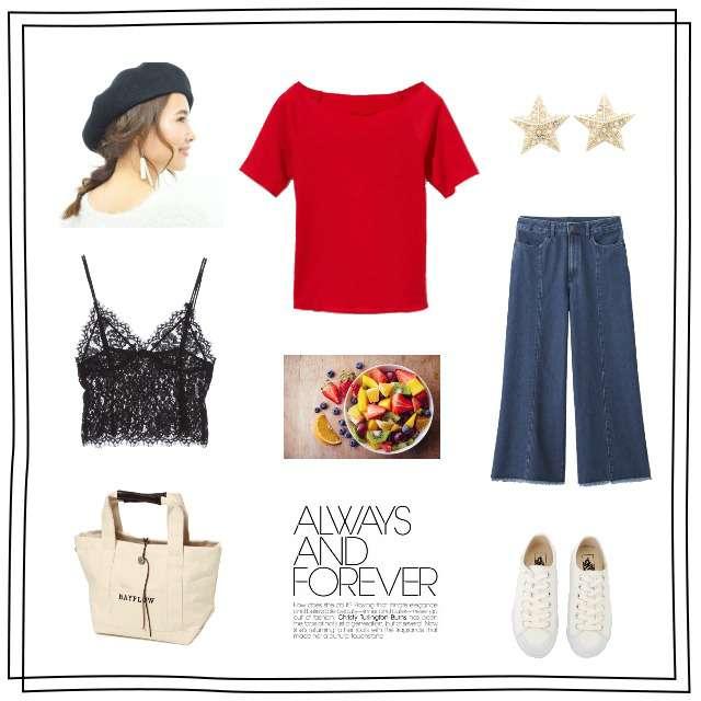 「カジュアル、赤Tシャツ、デニムワイドパンツ、GU、CONVERSE、赤 オフショル、ワイドパンツ、スニーカー、プチプラ、ベレー帽、レースビスチェ、レースキャミ、夏コーデ、着回し、大人カジュアル、ママカジュアル、ママコーデ、シンプルカジュアル、白 トートバッグ」に関するw closetのビスチェ、GRLのTシャツ/カットソー等を使ったコーデ画像