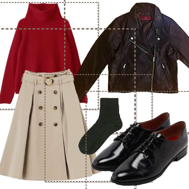 「おでかけ」に関するニット/セーター、dazzlinのひざ丈スカート等を使ったコーデ画像