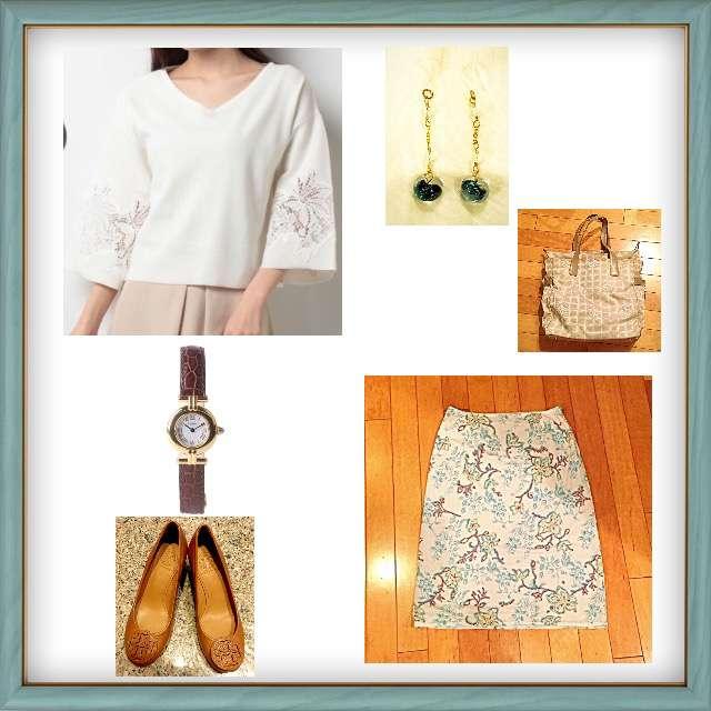 「ガーリー・フェミニン、オフィス、花柄スカート、カルティエ」に関するSTRAWBERRY-FIELDSのニット/セーター、VIVA YOUのスカート等を使ったコーデ画像