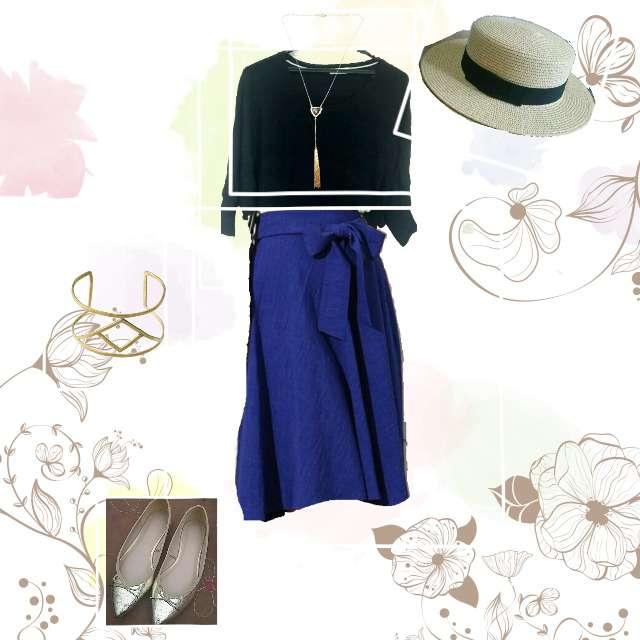 「シンプル、スカート×青」に関するINDEXのニット/セーター、ROPE' PICNICのミモレ丈スカート等を使ったコーデ画像