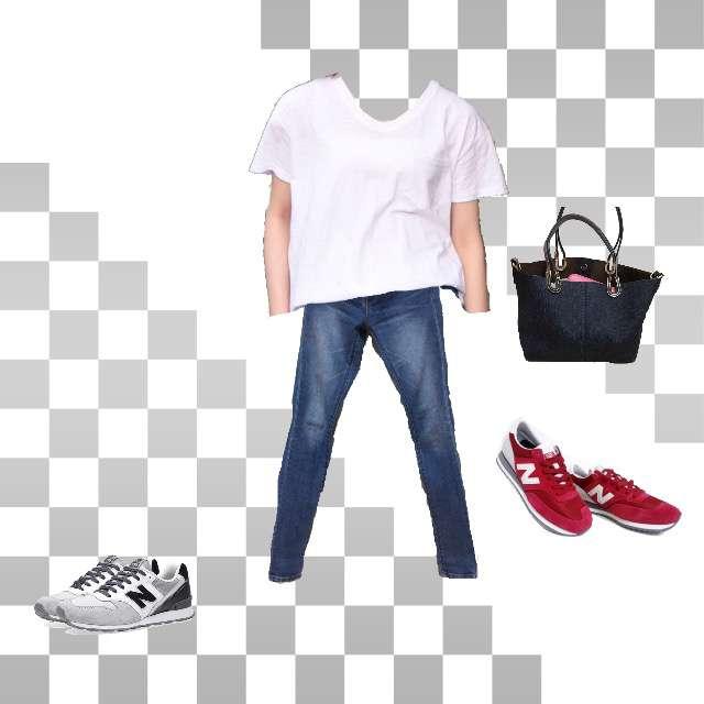 Tシャツ/カットソー、GAPのデニムパンツ等を使ったコーデ画像