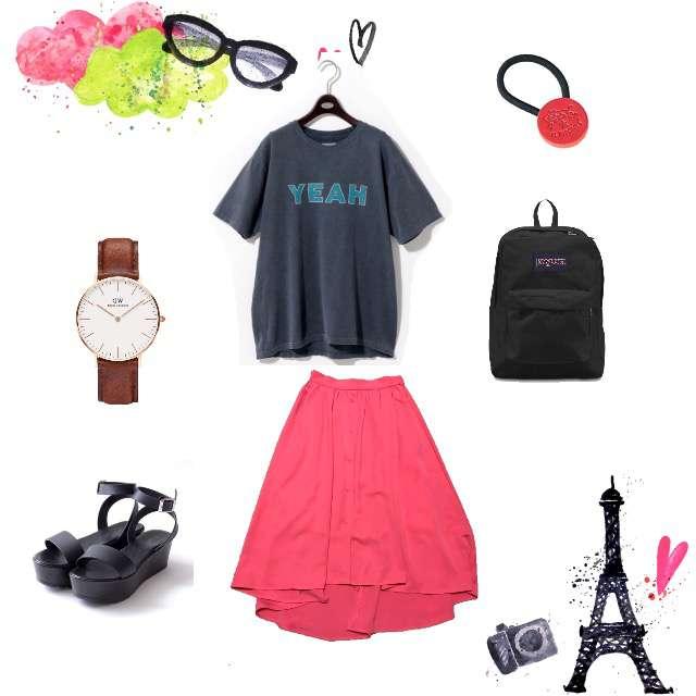 UNITED ARROWSのTシャツ/カットソー、ViSのミモレ丈スカート等を使ったコーデ画像