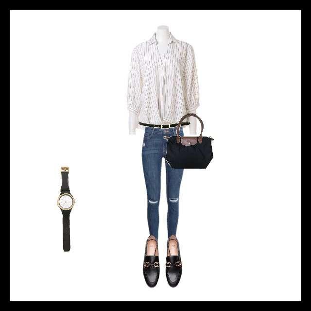 INGNIのシャツ/ブラウス、H&Mのスキニーパンツ等を使ったコーデ画像