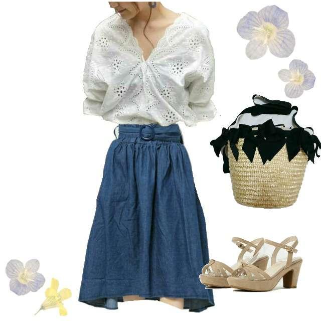 INGNIのシャツ/ブラウス、WEGOのスカート等を使ったコーデ画像