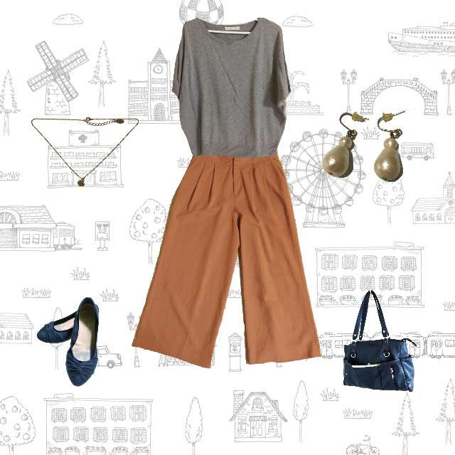 LOWRYS FARMのニット/セーター、green label relaxingのワイドパンツ等を使ったコーデ画像