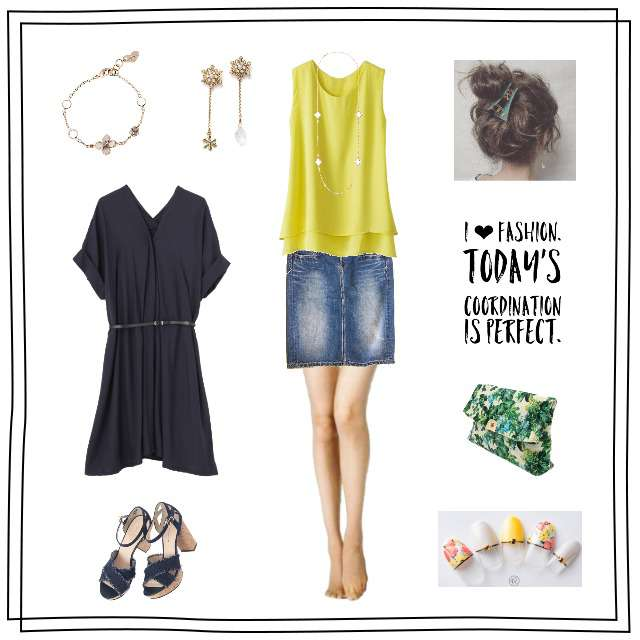 「ガーリー・フェミニン」に関するベルーナのキャミソール/タンクトップ、Johnbullのデニムスカート等を使ったコーデ画像