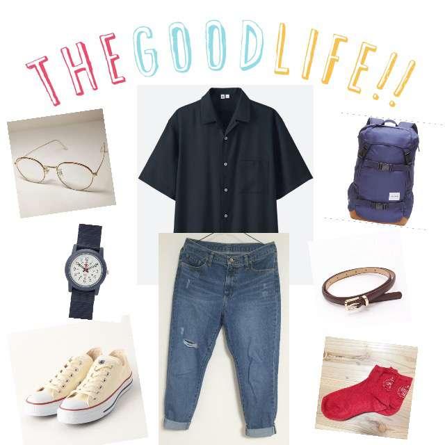 「カジュアル、学校」に関するUNIQLOのシャツ/ブラウス、Green Parksのデニムパンツ等を使ったコーデ画像