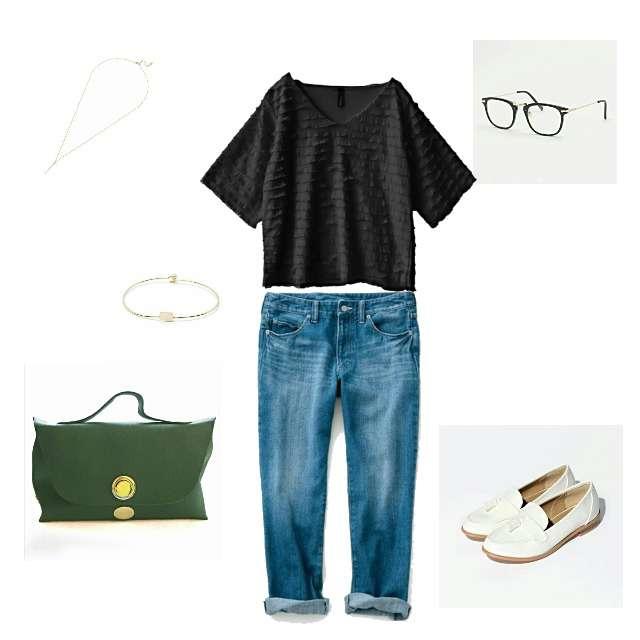 「カジュアル、休日」に関するe-zakkamania storesのシャツ/ブラウス、GAPのデニムパンツ等を使ったコーデ画像