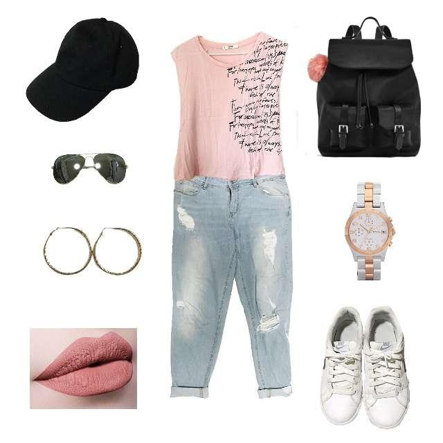「カジュアル、旅行」に関するMANGOのTシャツ/カットソー、H&Mのデニムパンツ等を使ったコーデ画像