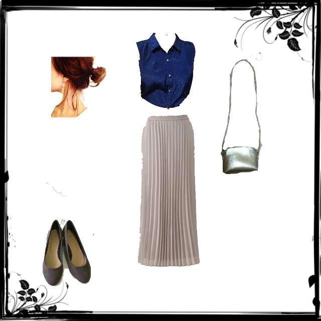 シャツ/ブラウス、UNIQLOのマキシ丈スカート等を使ったコーデ画像