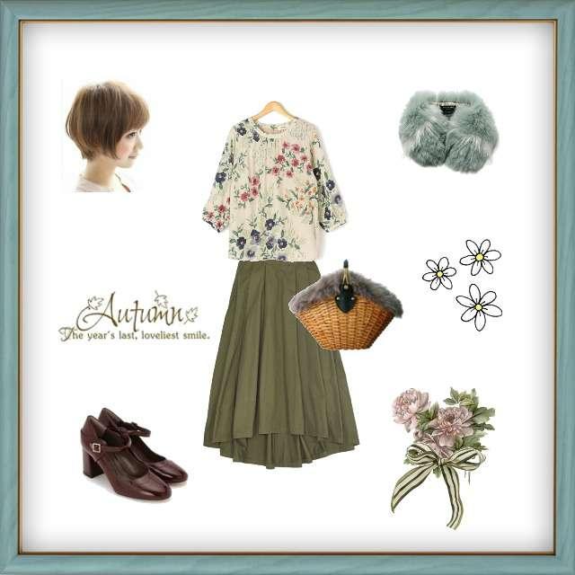 「ガーリー・フェミニン、おでかけ、フレアスカート、花柄ブラウス」に関するシャツ/ブラウス、SPINNSのフレアスカート等を使ったコーデ画像