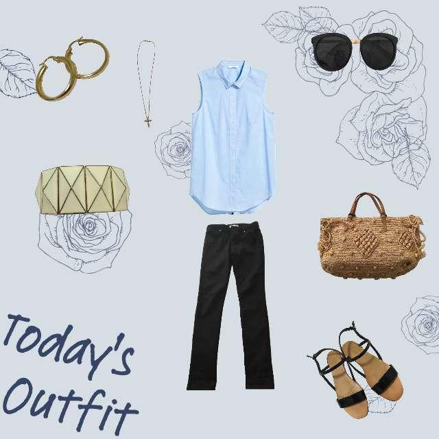 「summer」に関するH&Mのシャツ/ブラウス、ZARAのデニムパンツ等を使ったコーデ画像