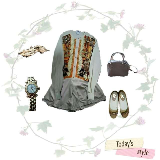 「カジュアル、休日」に関するHERMESのカーディガン、ひざ丈スカート等を使ったコーデ画像