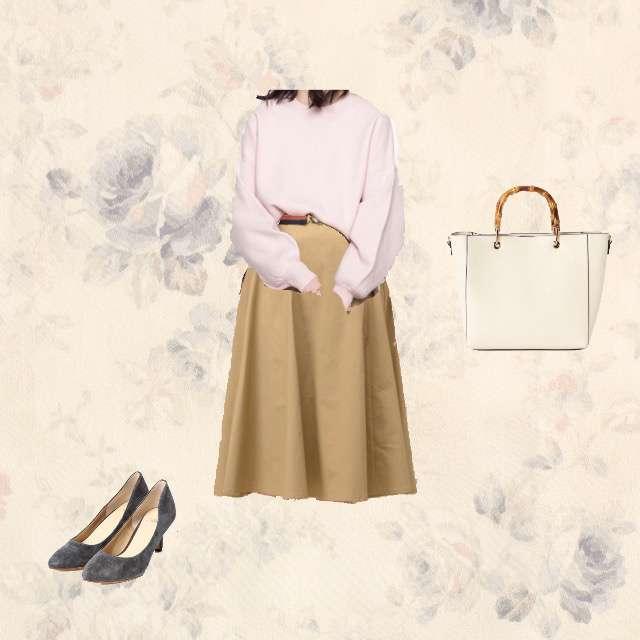 ニット/セーター、natural coutureのフレアスカート等を使ったコーデ画像