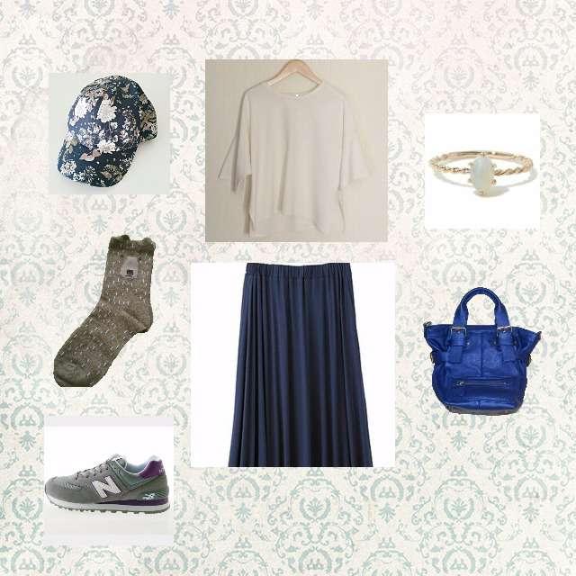 「カジュアル、おでかけ」に関するGUのTシャツ/カットソー、GUのマキシ丈スカート等を使ったコーデ画像