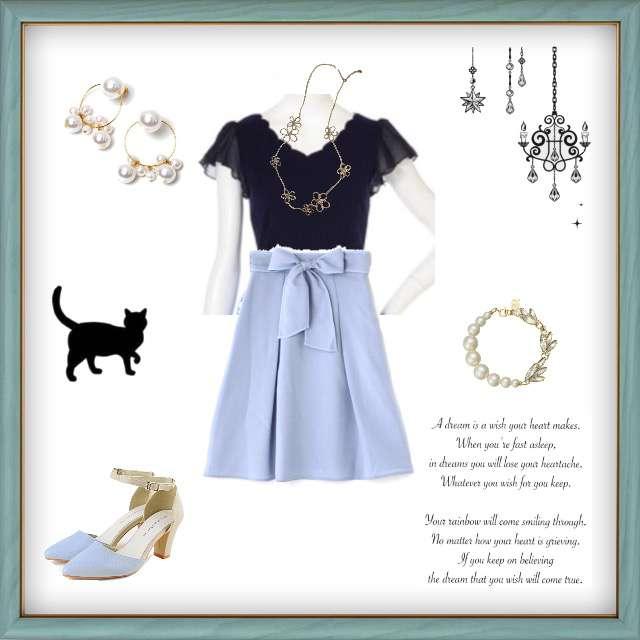 「ガーリー・フェミニン」に関するPROPORTION BODY DRESSINGのTシャツ/カットソー、PROPORTION BODY DRESSINGのフレアスカート等を使ったコーデ画像