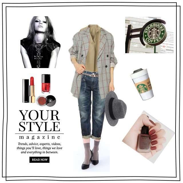 「ボーイッシュ・マニッシュ、おでかけ」に関するGUのシャツ/ブラウス、Cafettyのデニムパンツ等を使ったコーデ画像