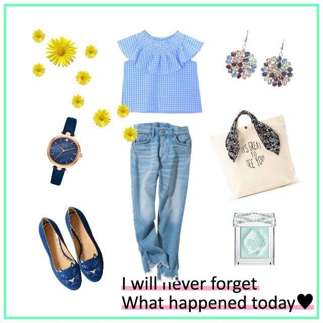 flowerのシャツ/ブラウス、Leeのデニムパンツ等を使ったコーデ画像