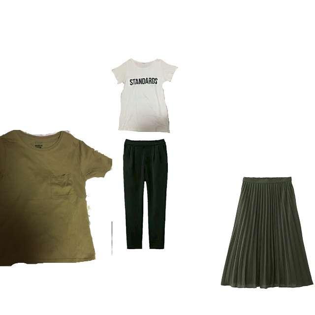 「シンプル、お散歩」に関するLOWRYS FARMのTシャツ/カットソー、GUのプリーツスカート等を使ったコーデ画像