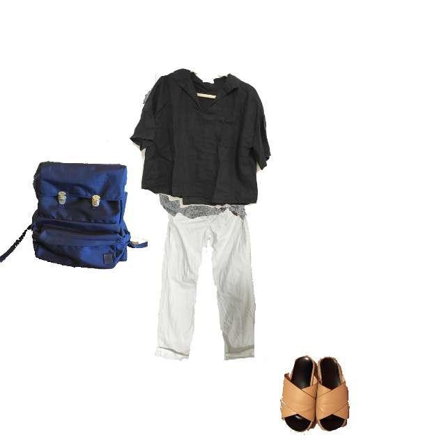 H&MのTシャツ/カットソー、bulle de savonのTシャツ/カットソー等を使ったコーデ画像
