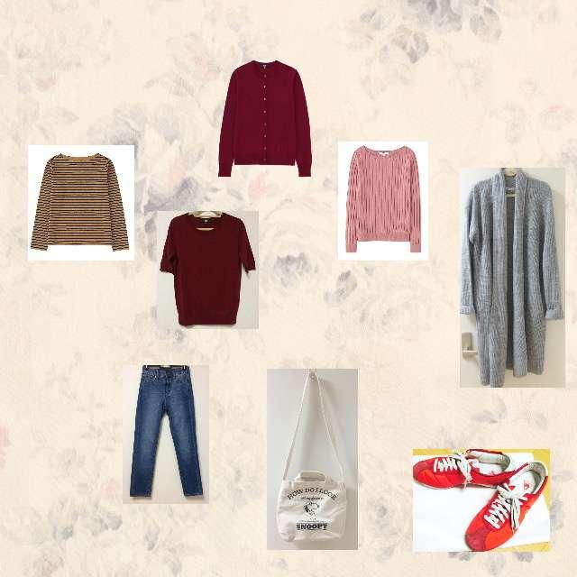 NATURAL BEAUTY BASICのカーディガン、UNIQLOのTシャツ/カットソー等を使ったコーデ画像