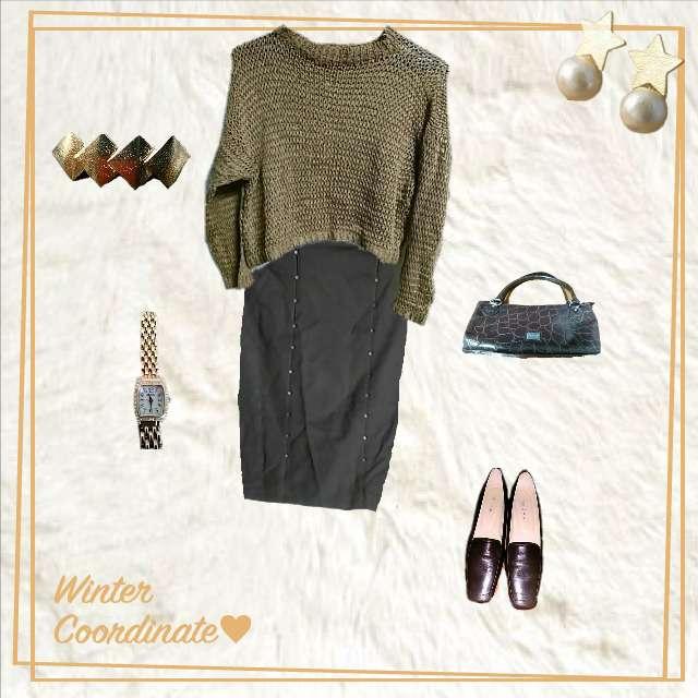 「コンサバ・エレガント、ランチ」に関するニット/セーター、ミモレ丈スカート等を使ったコーデ画像