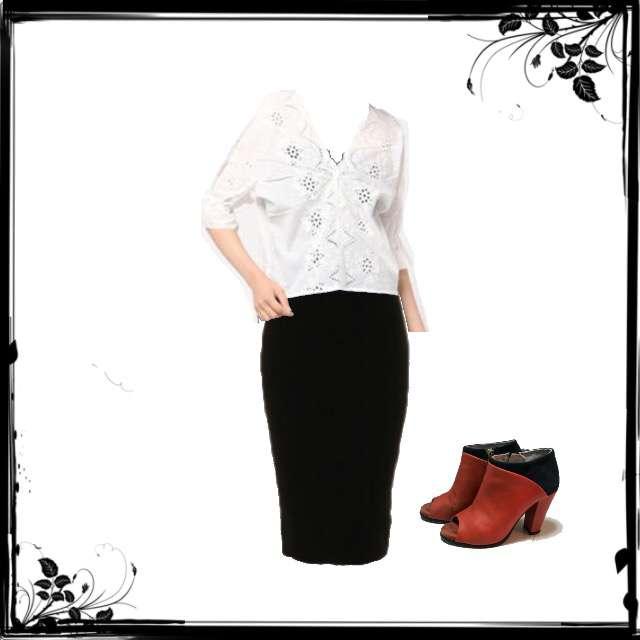 LOWRYS FARMのシャツ/ブラウス、FRAY I.Dのタイトスカート等を使ったコーデ画像
