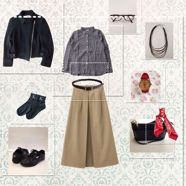 シャツ/ブラウス、GUのフレアスカート等を使ったコーデ画像